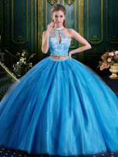 Cheap Halter Top Baby Blue Sleeveless Beading and Lace and Appliques Floor Length Sweet 16 Quinceanera Dress