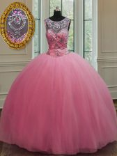 Tulle Scoop Sleeveless Lace Up Beading 15th Birthday Dress in Rose Pink