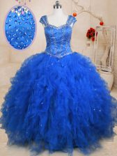 Hot Selling Blue Tulle Lace Up Straps Cap Sleeves Floor Length 15th Birthday Dress Beading and Ruffles