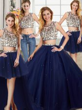 Four Piece Scoop Navy Blue Backless 15 Quinceanera Dress Beading Cap Sleeves With Brush Train