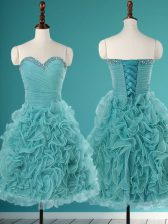 Luxurious Sleeveless Mini Length Beading and Ruffles Lace Up Dress for Prom with Turquoise