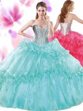 Classical Turquoise Ball Gowns Organza Sweetheart Sleeveless Beading and Pick Ups Floor Length Lace Up Vestidos de Quinceanera