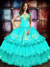 Perfect Off The Shoulder Sleeveless Organza Sweet 16 Dresses Embroidery and Ruffled Layers Lace Up
