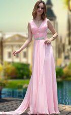 Pink Column/Sheath V-neck Sleeveless Chiffon Floor Length Zipper Beading Prom Dress