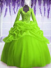 Modern Organza Long Sleeves Floor Length Ball Gown Prom Dress and Sequins and Pick Ups