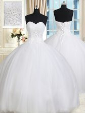 Dynamic White Sweetheart Lace Up Beading Vestidos de Quinceanera Sleeveless