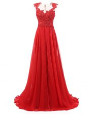 Classical Red Chiffon Zipper V-neck Sleeveless With Train Homecoming Dress Brush Train Appliques