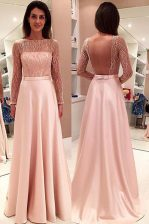 Deluxe Pink Satin Backless Bateau Long Sleeves With Train Prom Evening Gown Sweep Train Beading