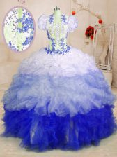 Gorgeous Sleeveless With Train Beading and Appliques and Ruffles Lace Up Sweet 16 Dresses with Multi-color Brush Train