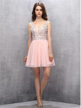 Beading Prom Party Dress Baby Pink Zipper Sleeveless Knee Length