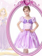 Lilac A-line V-neck Short Sleeves Organza Knee Length Clasp Handle Beading and Bowknot Flower Girl Dresses for Less