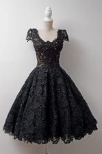 Chic Scoop Cap Sleeves Tea Length Lace Zipper Prom Evening Gown with Black