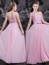 Baby Pink Sleeveless Appliques and Bowknot Floor Length Prom Dresses