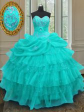 Comfortable Sleeveless Organza Floor Length Lace Up 15th Birthday Dress in Aqua Blue with Beading and Ruffled Layers and Pick Ups