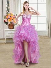 Decent High Low Multi-color Prom Evening Gown Organza Sleeveless Ruffles and Sequins