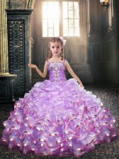 Luxurious Lavender Ball Gowns Organza Spaghetti Straps Sleeveless Beading and Appliques Floor Length Side Zipper Toddler Flower Girl Dress