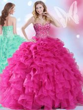 Exceptional Sleeveless Lace Up Floor Length Beading and Ruffles 15th Birthday Dress