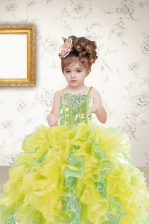 Spaghetti Straps Sleeveless Pageant Gowns For Girls Floor Length Beading and Ruffles and Sequins Multi-color Organza