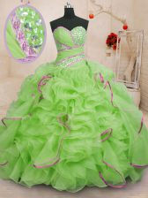 Decent Sleeveless With Train Beading and Ruffles Lace Up Ball Gown Prom Dress