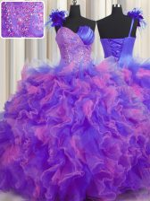 One Shoulder Handcrafted Flower Sleeveless Lace Up Floor Length Beading and Ruffles and Hand Made Flower Quinceanera Gowns