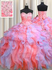Multi-color Sleeveless Organza Lace Up Quinceanera Gown for Military Ball and Sweet 16 and Quinceanera