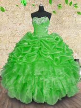 Luxurious Ball Gowns 15 Quinceanera Dress Green Sweetheart Organza Sleeveless Floor Length Lace Up
