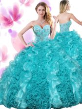 Teal Ball Gowns Organza Sweetheart Sleeveless Beading and Ruffles Floor Length Lace Up Quinceanera Gown