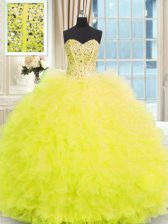 Excellent Light Yellow Strapless Neckline Beading and Ruffles Quinceanera Dress Sleeveless Lace Up