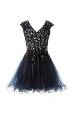 Navy Blue Prom Gown Prom and Party with Beading V-neck Cap Sleeves Criss Cross