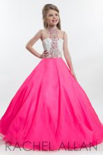 Beauteous Hot Pink Sleeveless Beading Floor Length Child Pageant Dress