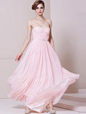 Attractive Baby Pink Zipper Sweetheart Beading Prom Dress Chiffon Sleeveless