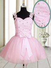 Custom Designed Straps Beading and Embroidery Prom Dress Baby Pink Lace Up Sleeveless Mini Length