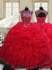 Scoop Sleeveless Vestidos de Quinceanera Floor Length Beading and Pick Ups Red Organza