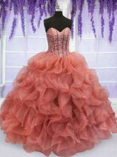 Flirting Watermelon Red Ball Gowns Sweetheart Sleeveless Organza Floor Length Lace Up Beading and Ruffles Quinceanera Dresses