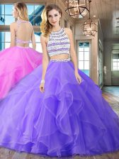 Delicate Scoop Sleeveless Organza With Brush Train Backless Quince Ball Gowns in Lavender with Beading and Ruffles