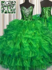 Sweet 15 Quinceanera Dress Military Ball and Sweet 16 and Quinceanera with Beading and Ruffles Sweetheart Sleeveless Lace Up