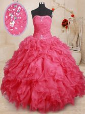 Attractive Sleeveless Lace Up Floor Length Beading and Ruffles Vestidos de Quinceanera