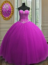Glorious Sweetheart Sleeveless Quinceanera Gown Floor Length Beading and Sequins Purple Tulle