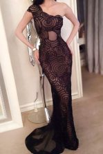 Sweep Train Mermaid Black One Shoulder Lace Sleeveless With Train Side Zipper