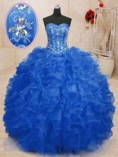 New Arrival Organza Sweetheart Sleeveless Lace Up Beading and Ruffles Sweet 16 Dresses in Blue