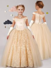 Exceptional Off the Shoulder Champagne Ball Gowns Lace Flower Girl Dress Lace Up Tulle Cap Sleeves Floor Length
