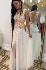 Enchanting White Sleeveless Beading and Lace Floor Length Dress for Prom