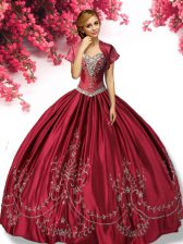 Wine Red Lace Up 15th Birthday Dress Embroidery Sleeveless Floor Length