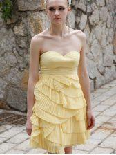 Lovely Sleeveless Zipper Mini Length Ruching Evening Dress