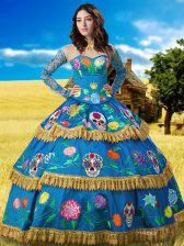 Suitable Blue High-neck Neckline Lace and Embroidery Vestidos de Quinceanera Long Sleeves Lace Up