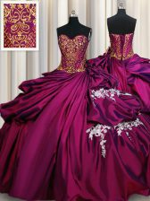Dramatic Pick Ups Fuchsia Sleeveless Taffeta Lace Up Sweet 16 Quinceanera Dress for Military Ball and Sweet 16 and Quinceanera