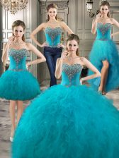 Four Piece Sleeveless Tulle Floor Length Lace Up Quince Ball Gowns in Teal with Beading and Ruffles