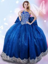 Halter Top Royal Blue Taffeta Lace Up Ball Gown Prom Dress Sleeveless Floor Length Beading and Bowknot