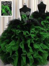 Enchanting Multi-color Lace Up Ball Gown Prom Dress Beading and Ruffles Sleeveless Floor Length