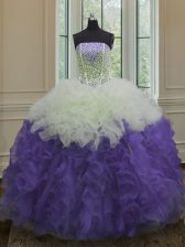 Glorious White And Purple Ball Gowns Organza Strapless Sleeveless Beading and Ruffles Floor Length Lace Up Quinceanera Dress